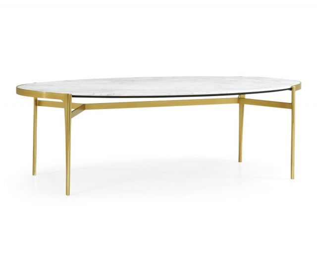 Jonathan Charles Oval Dining Table with Brass Legs