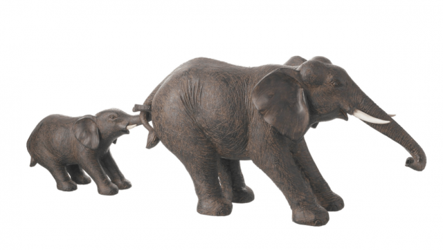 Parlane Deco Elephant Nelly Set of 2 Brown Height 29cm