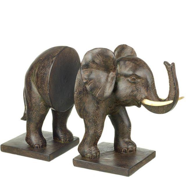 Parlane Elephant Bookends Brown