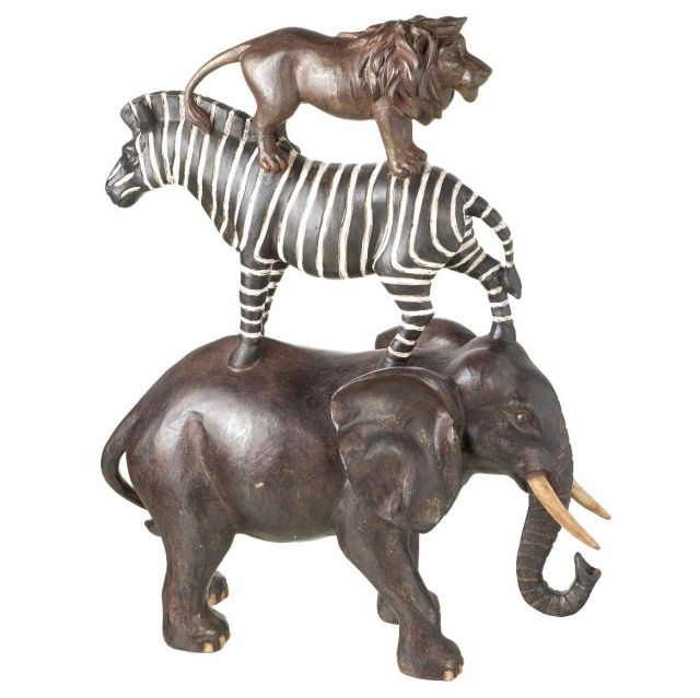 Parlane Elephant Zebra Lion Black/White