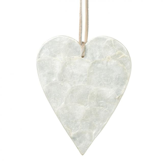 Parlane Hanging Heart Capiz Shell Cream H.17.5cm