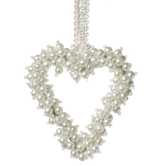 Parlane Hanging Heart Pearl Beads White Height 11cm