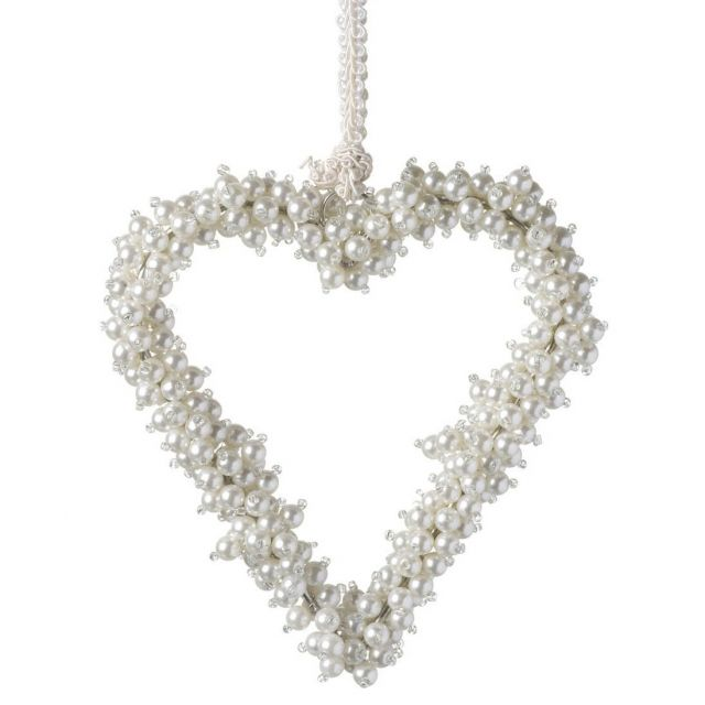 Parlane Hanging Heart Pearl Beads White Height 16cm
