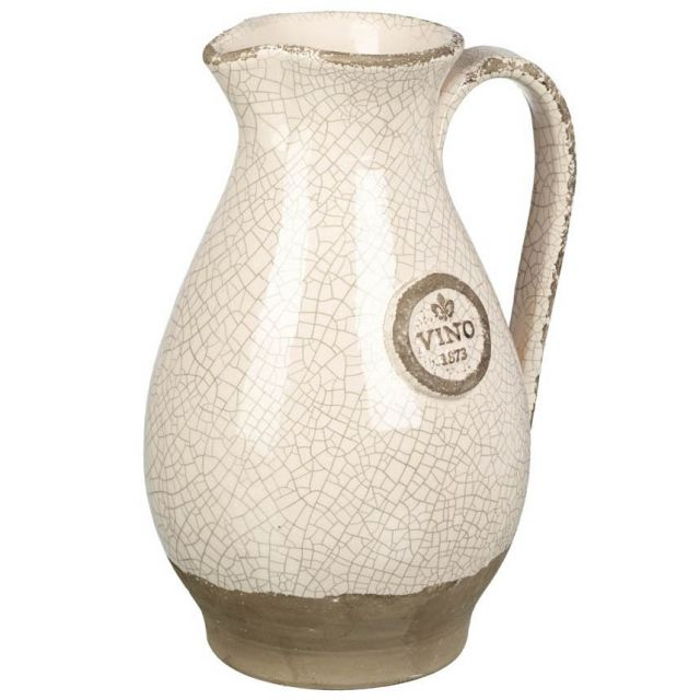 Parlane Pitcher Vino Crackle Ivory Height 30cm