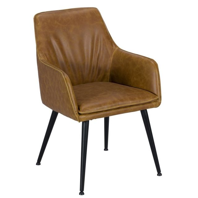 Pavilion Chic Dining Chair Oliver with Arms in PU Leather