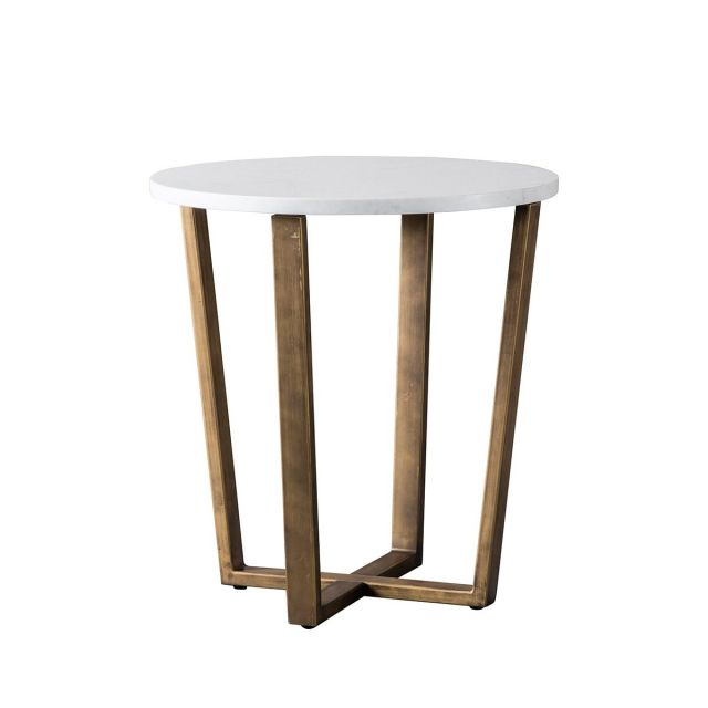 Pavilion Chic Side Table Charlbury in White Marble