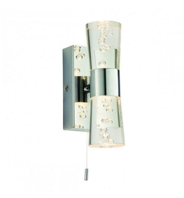 Pavilion Chic Wall Light Erebus Double in Bubble Glass