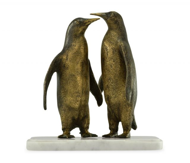 Jonathan Charles Penguin Pair Figurine on Marble Base