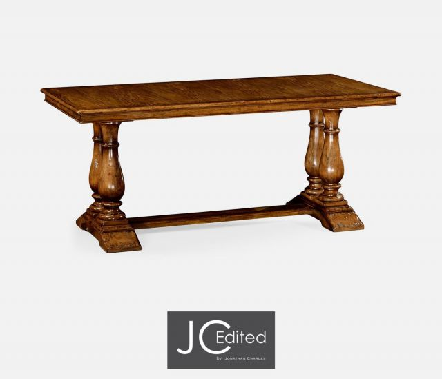 Jonathan Charles Dining Table Rustic with Pedestal Base