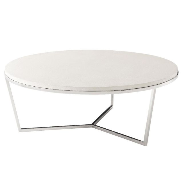 TA Studio Large Round Coffee Table Fisher in Overcast Shagreen