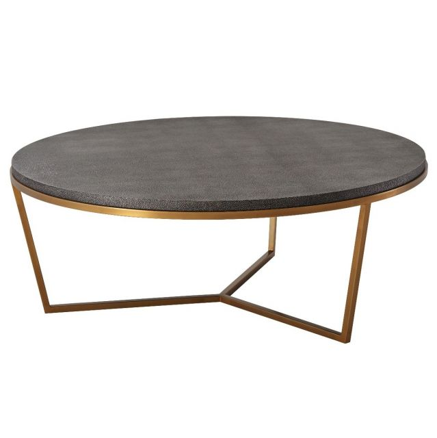 TA Studio Large Round Coffee Table Fisher in Tempest Shagreen