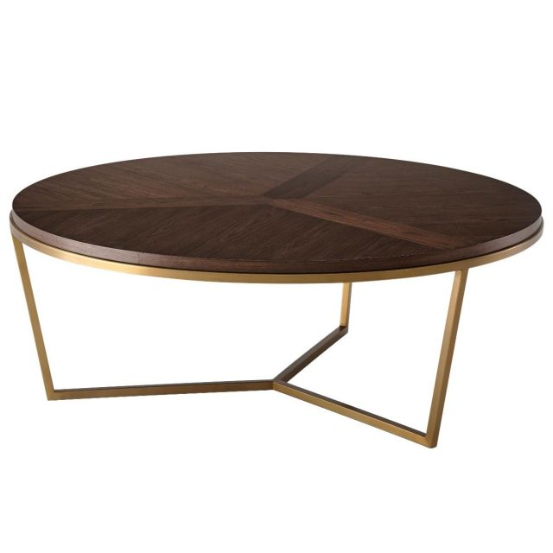 TA Studio Large Round Coffee Table Fisher in Macadamia & Brass