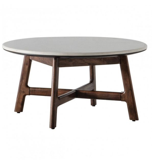 Pavilion Chic Round Coffee Table Plaza with Marble Top