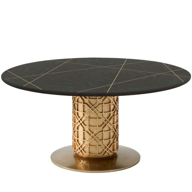 Theodore Alexander Colter Large Round Dining Table in Veneer
