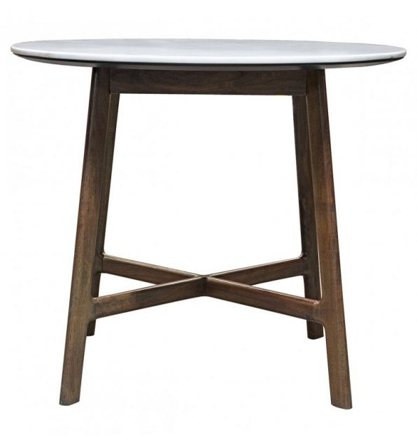 Pavilion Chic Round Dining Table Plaza with Marble Top