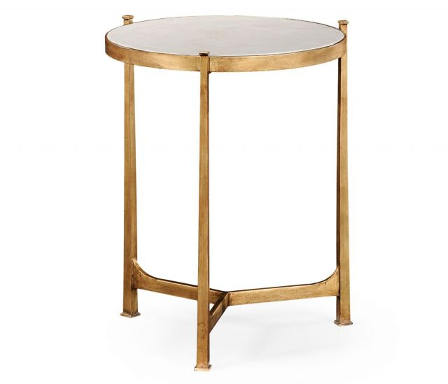 Jonathan Charles Round End Table Contemporary in Ivory Scagliola