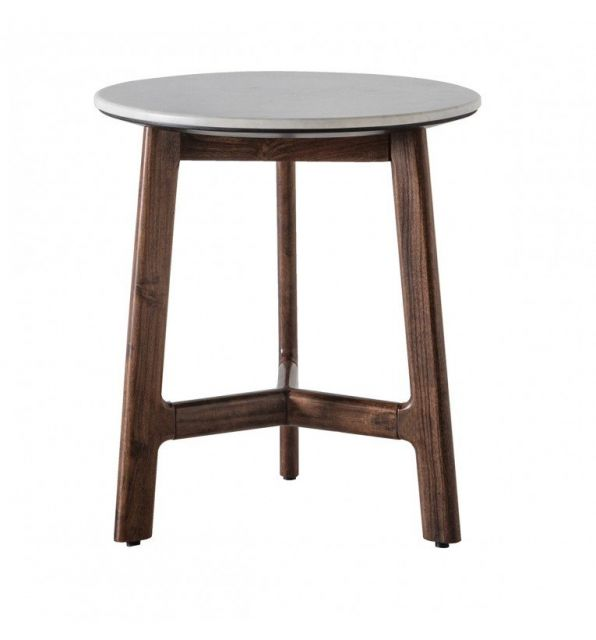 Pavilion Chic Round Side Table Plaza with Marble Top