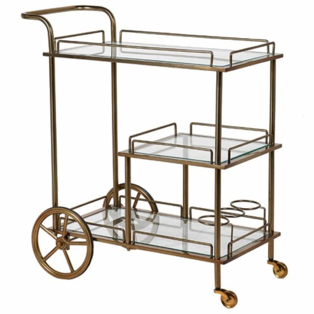 Pavilion Chic Serving Trolley Bar Jeeves in Brass