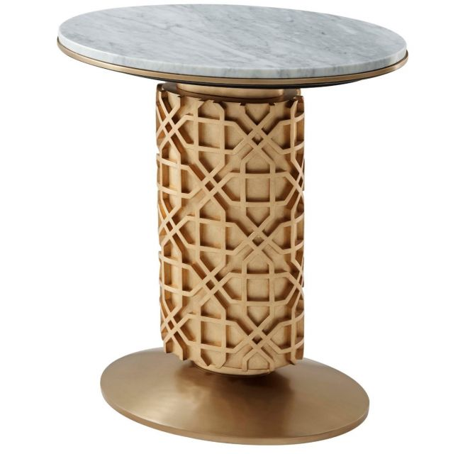 Theodore Alexander Colter Side Table Colter in Marble