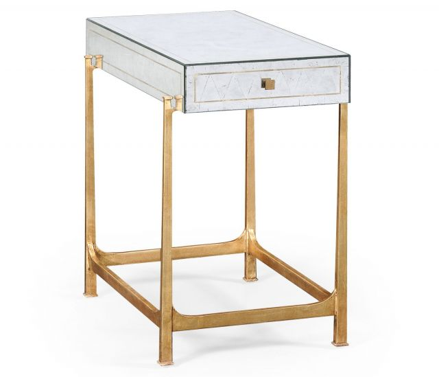 Jonathan Charles Side Table with Drawer Contemporary in Eglomise