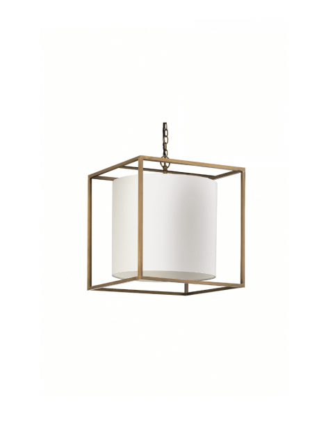 Heathfield & Co. Derwent Cube Antique Brass Ceiling Pendant