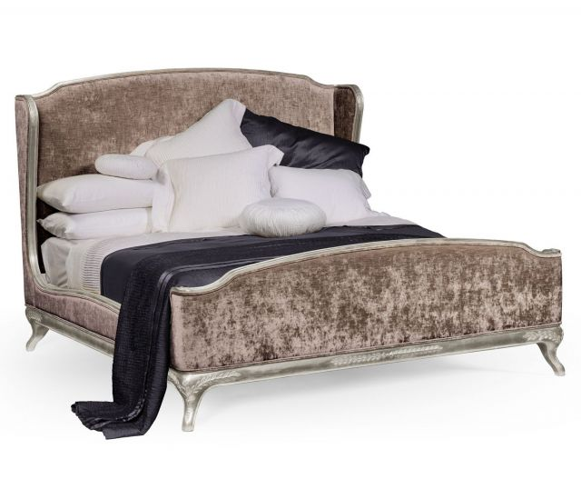 Jonathan Charles Super King Bed Frame Louis XV in Silver Leaf