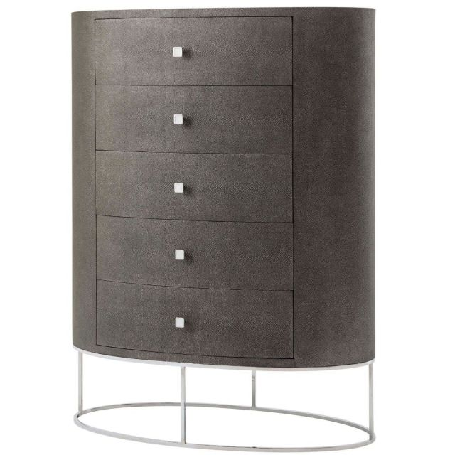 Theodore Alexander Tall Chest of Drawers Shagreen Embossed Leather