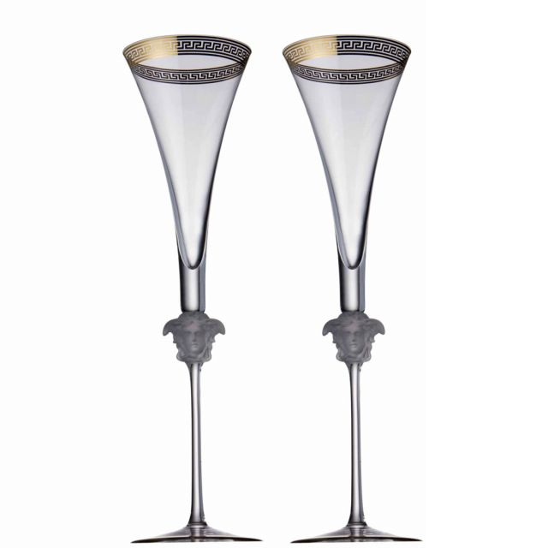Versace Medusa D'or Champagne Flute 2 Piece Set