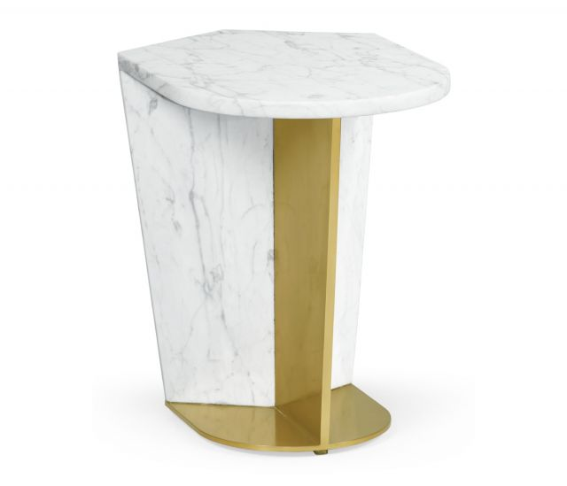 Jonathan Charles End Table in White Calcutta Marble