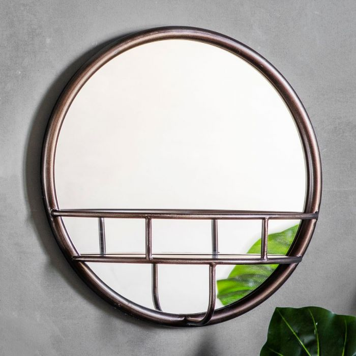 Pavilion Chic Hill Round Metal Mirror With Shelf Pavilion Broadway