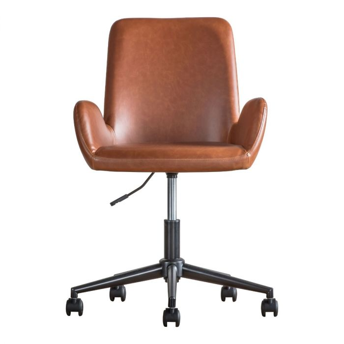 Whitehall Faux Leather Desk Chair In, Brown Leather Office Chair
