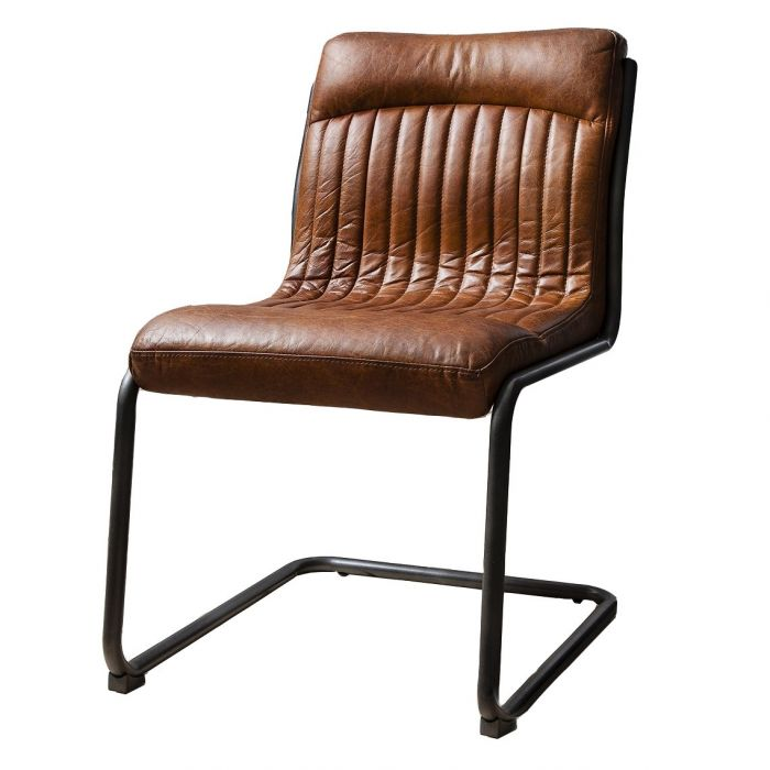 Pavilion Chic Dining Chair Cucuta Brown, Brown Leather Dining Chair