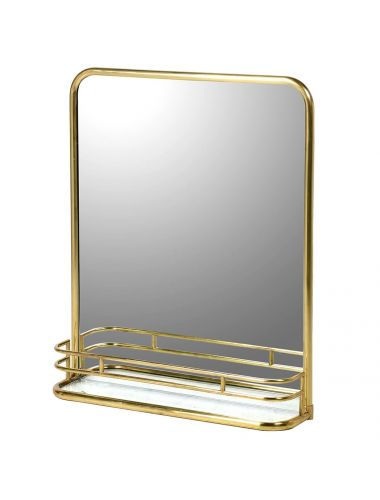 Brass Gallery Mirror with Marble Shelf | Pavilion Broadway