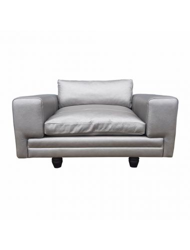Clearance Duresta Reading Armchair Monaco in Leather Silver | Pavilion Broadway