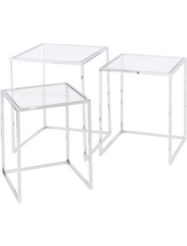 Libra Linton Stainless Steel Nesting Tables set of 3 | Pavilion Broadway