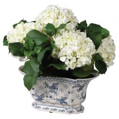 Pavilion Flowers Chinoiserie Artificial White Hydrangea