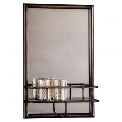 Pavilion Chic Hill Rectangular Metal Mirror with Shelf