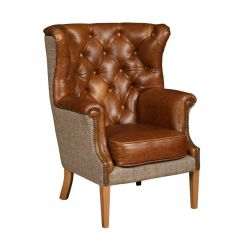 Winchester Chair Leather and Harris Tweed