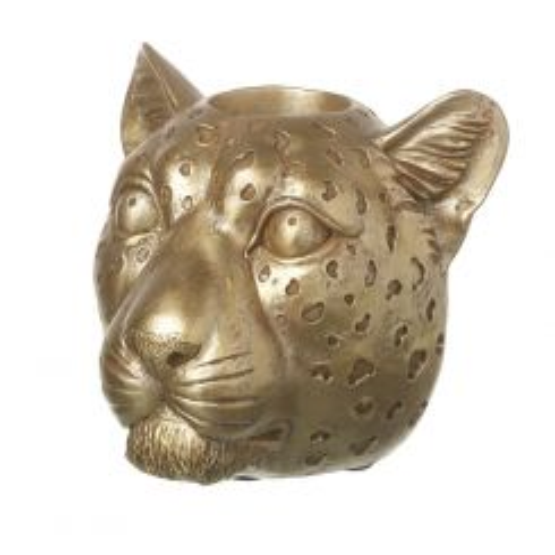 Parlane Gold Leopard Head Tealight Holder