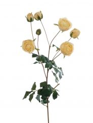 Pavilion Flowers Artificial English Rose Spray Yellow Height 57cm