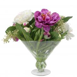 Pavilion Flowers Artificial Peonies & Skimmia Pink In Flower Vase