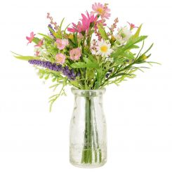 Pavilion Flowers Artificial Daisy & Blossom In Milk Bottle Pink Height 24cm