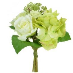 Pavilion Flowers Artificial Rose/hydrangea/skimmia Bouquet Green/white Height 23cm