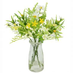 Pavilion Flowers Artificial Daisy & Blossom In Milk Bottle White Height 24cm