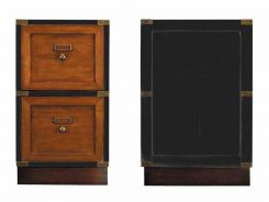 Authentic Models Two Drawer Campaign Filing Cabinet, Black