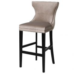 Pavilion Chic Bar Chair Andrew in Taupe with Button Back