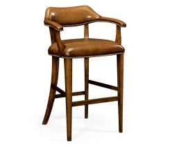 Jonathan Charles Bar Stool Library - Antique Chestnut Leather