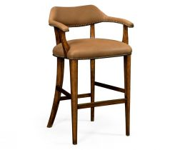 Jonathan Charles Bar Stool Library - Light Brown Leather