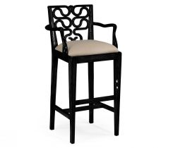 Jonathan Charles Bar Stool with Arms Serpentine in Black