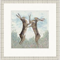 Pavilion Art Boxing Hares by Nicola Hart - Limited Edition Framed Print
